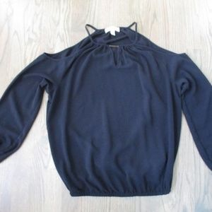 Michael Kors Black Off Shoulder Long Sleeve Top M